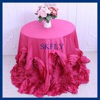 CL052Q Gorgeous round flower fancy wedding hot pink taffeta cake rosette tablecloths