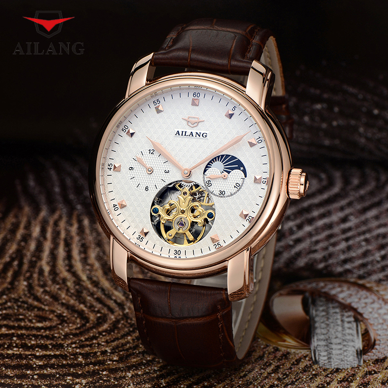 цена на AILANG Men Mechanical Wristwatches Hollow Leather Skeleton Watches Men's Luxury Brand Water Resistant Mechanical Watches A075