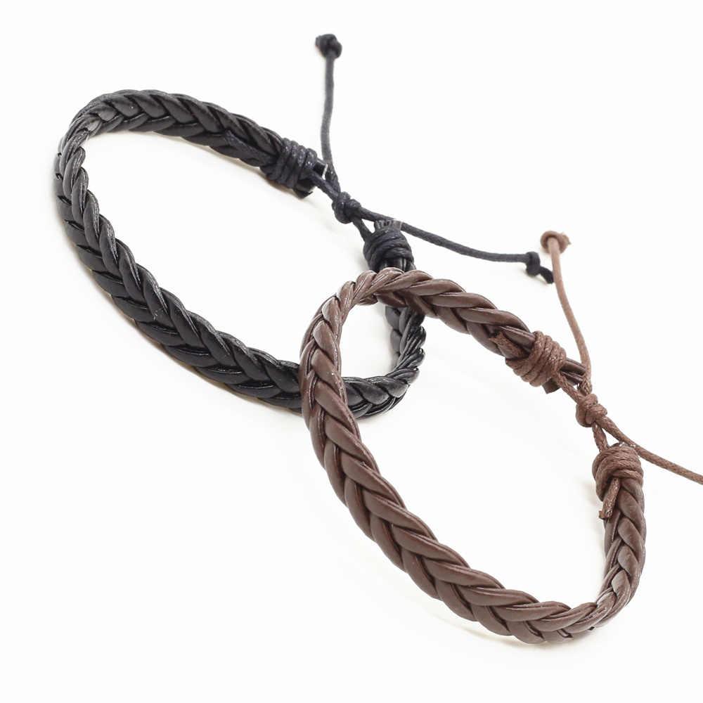 新到着ハンドメイドヴィンテージカジュアル茶色、緑、白ロープ織男性女性ブレスレットオムファム男性ジュエリー