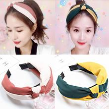 Korean Boutique Hairband Two-tone Bowknot Headband Women Girls Hair Head Hoop Bands Accessories For Women Scrunchy Hairbands two tone geo print headband