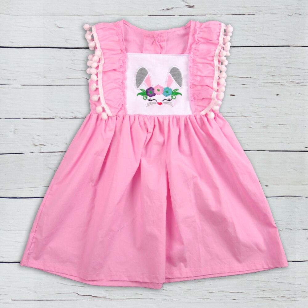 イースターの幼児の女の子のブティックドレス子供は綿の子供服を着るイースターのための最新の刺繍ドレスLYQ 811-374イースター水着花柄