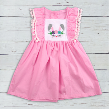 Easter  Toddler Girls Boutique Dress Kids Wear Cotton Children Clothes Latest Embroidery Dress For Easter LYQ811-374 embroidery