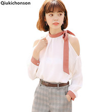 Qiukichonson cold shoulder tops ladies 2018 summer tops korean elegant bow tie off shoulder chiffon blouse long sleeve shirts reddish brown tie up detail off shoulder blouse