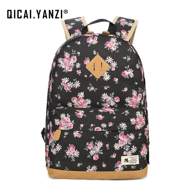 QICAI YANZI Teenager Girls Shool Bags Women Floral Softback Backpack Student Canvas Bagpack Female Tote Mochila