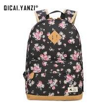 Qicai. yanzi подросток Обувь для девочек школьная Сумки Для женщин Цветочный Softback рюкзак студент холст рюкзак женский Tote Mochila Feminina Z525