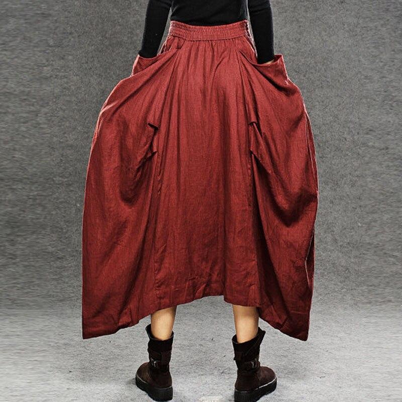 Fashion Zanzea Female Autumn Elastic Waist Big Pockets Asymmetric Hem Floor-Length Skirt Stylish Solid Party Long Pleated Skirt