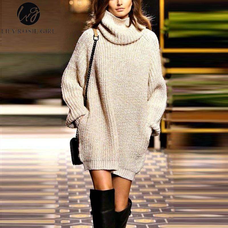 Lily Rosie Girl Turtleneck Knitted Women <font><b>Dresses</b></font> 2017 Autumn Winter <font><b>Beige</b></font> Long Sleeve Mini <font><b>Dress</b></font> Black Casual Pullovers Vestidos