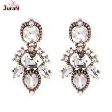 JURAN New Fashion Statement Jewelry Full Crystal Big Drops Earrings Trendy Luxury Elegant Dangle Earring For