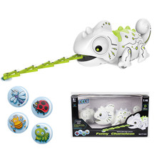 Electronic Pets toys RC robot Smart chameleon Robotic Animals Can Eat Things Function Cute Intelligent Toys For Kids children@30