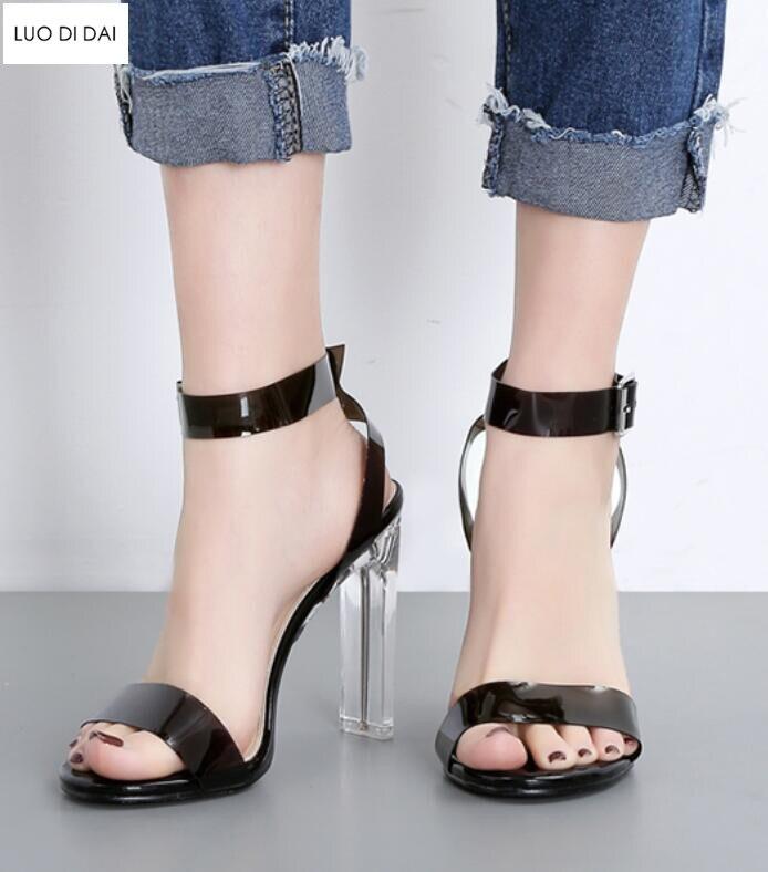 Chaussures Noir Clair Hauts Sandales Sangle Habillées Talons 2019 Pvc Soirée En clair Laser Cheville De Talon Femmes Spartiates Cristal Mode 6wzFvU