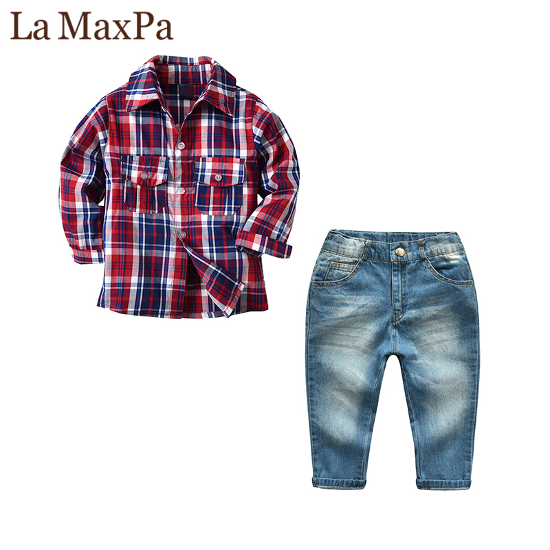La MaxPa 2018 New Boy Long-sleeved Shirt Children Plaid Shirt Jeans Suit Boys Fashion Casual Clothing Red Long-sleeved Shirt