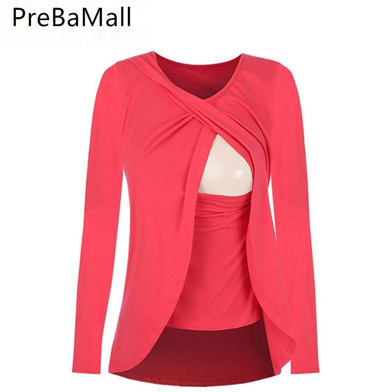 Popular Breastfeeding Tee for Pregnat Women Long Sleeve Maternity Nursing Wrap Tops Cap Double Layer Blouse T Shirt B0505 contrast lace wrap blouse