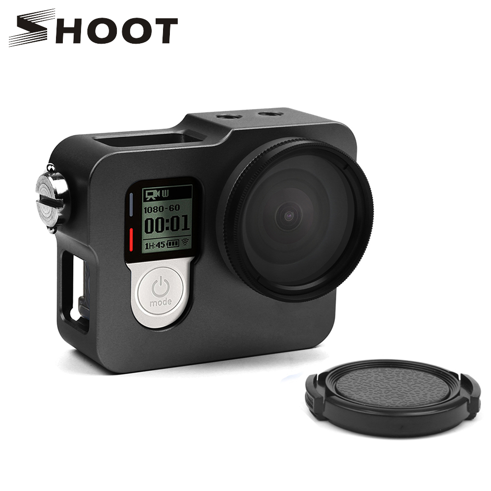 SHOOT Aluminum Protective Frame Case for GoPro Hero 4 Black Silver Action Camera With 37mm UV Filter Mount for Gopro Accessories shoot aluminum alloy protective case with uv filter mount for gopro hero 6 action camera housing shell go pro hero 6 accessories