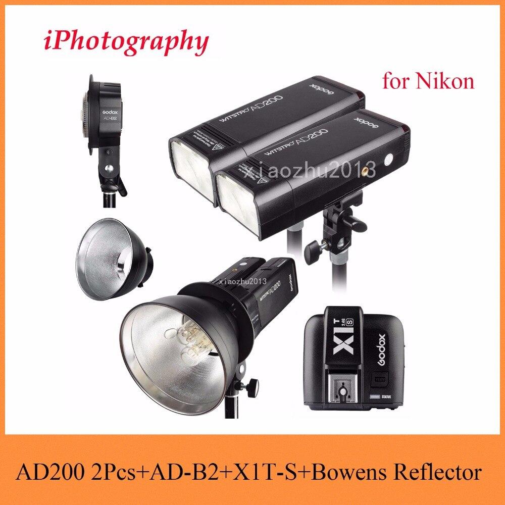 Godox AD200 2.4G TTL Flash 2Pcs + AD-B2 + X1T-N + Bowens Reflector 400W Strobe Flash for Nikon godox v860iic v860iin v860iis x1t c x1t n x1t s hss 1 8000s gn60 ttl flash speedlite 2 4g transmission godox softbox filter