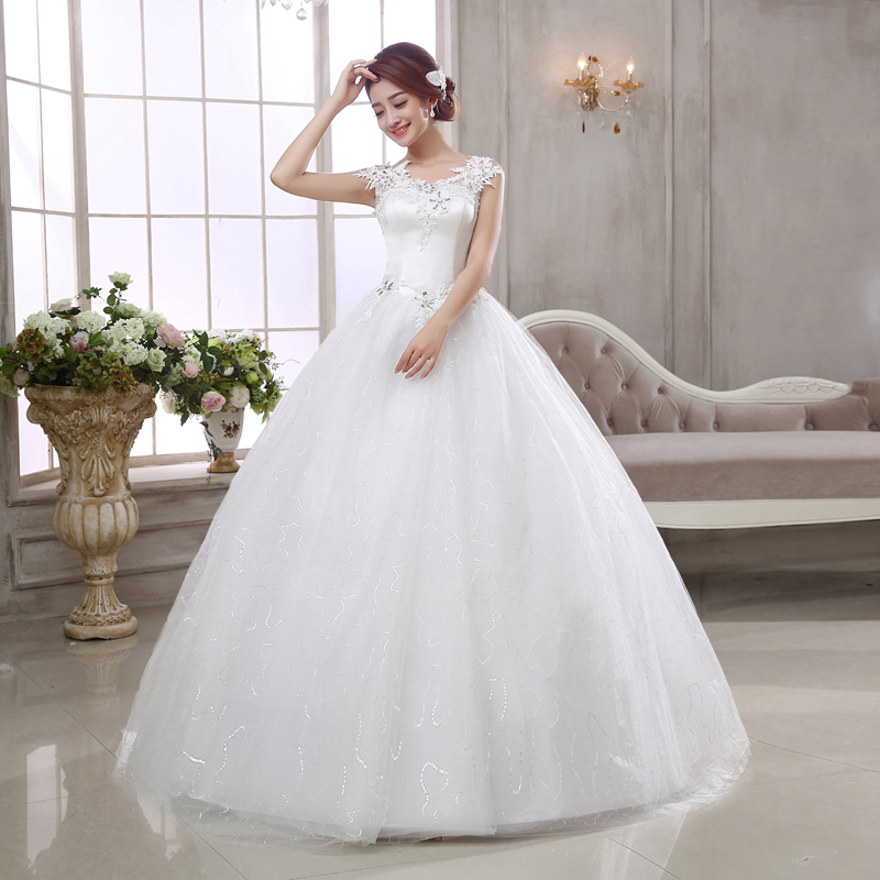 2017 Latest Wedding Dresses Gorgeous Ball Gown Romantic Princess Formal Dress White Ivory Elegant Lace Up Back Bridal In From Weddings