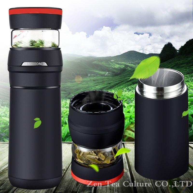2017 Portátil Coche Termo Termo Taza del Vacío del Acero Inoxidable 304 con Vidrio Taza de Té de Aislamiento Térmico Botella de Regalo Creativo