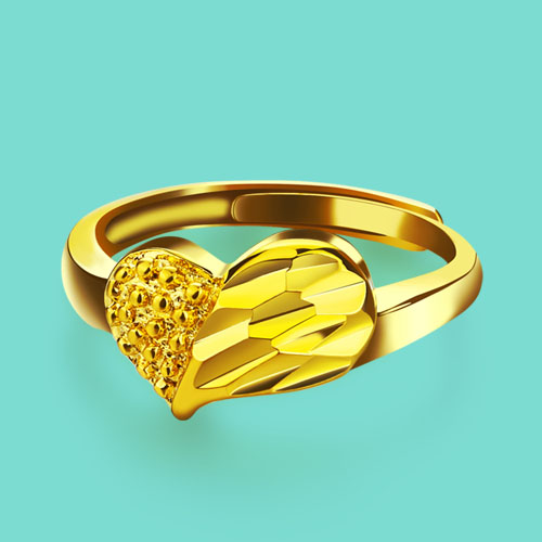f345be535027b US $3.96 49% OFF Sweet style female models gold ring heart shaped design  24k yellow gold ring opening ring good quality ladies jewelry best gift-in  ...