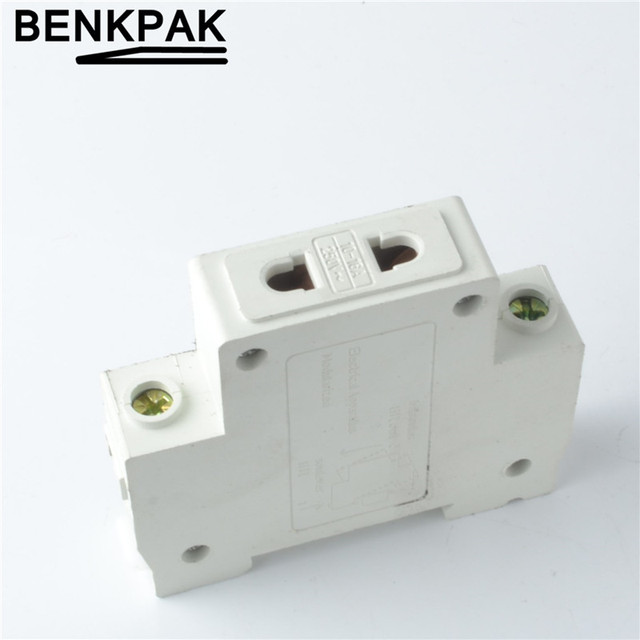 1P Single One 1 Pole US EU 2 Pin Plug 35mm DIN Rail Mount AC Power ac30 Modular Socket 10-16A 250V AC socket