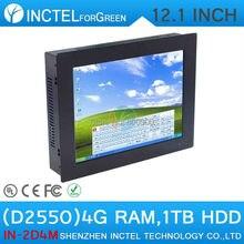 Файловых серверов 12.1 «все-В-Одном сенсорный Пк с 2 мм ультра-тонкий СВЕТОДИОДНЫЙ Панель 4:3 дизайн Dual Core D2550 1.86 ГГц 4 Г RAM 1 ТБ HDD