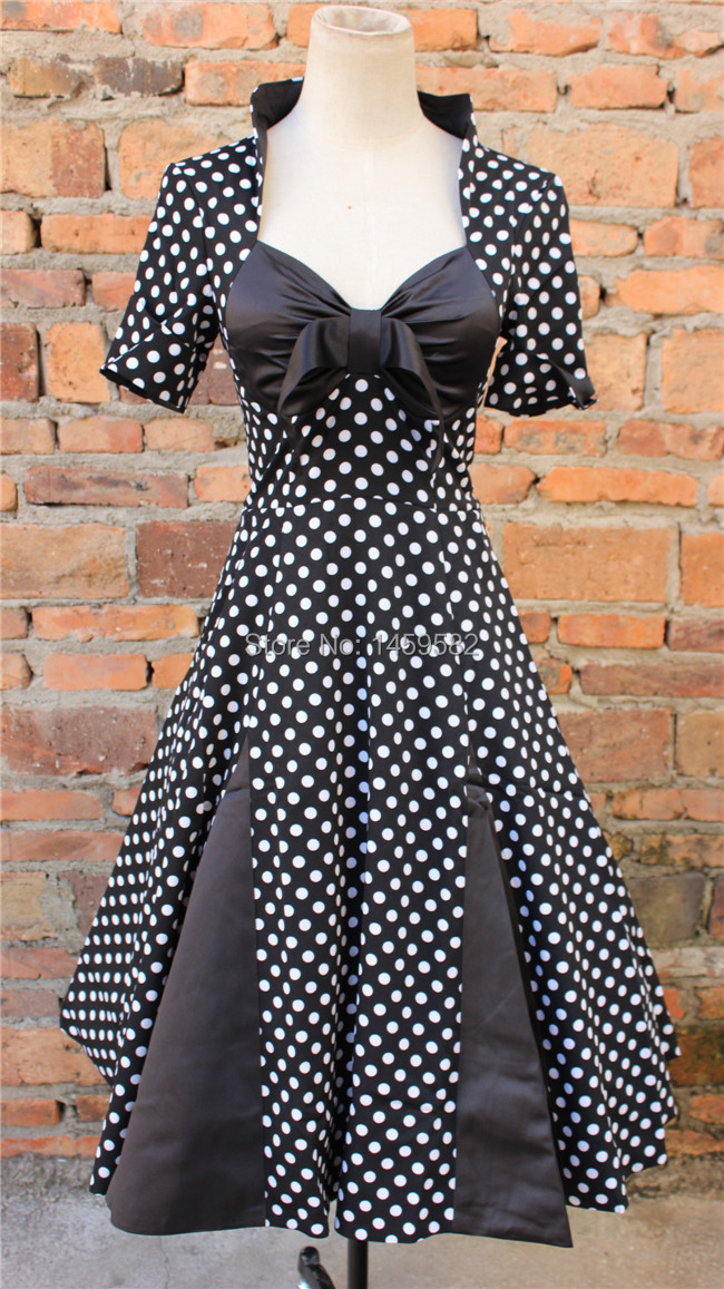 free shipping  Vintage 1950s 60s Swing Rockabilly Black White Polka Dot Evening Party DressBestdress vestidos