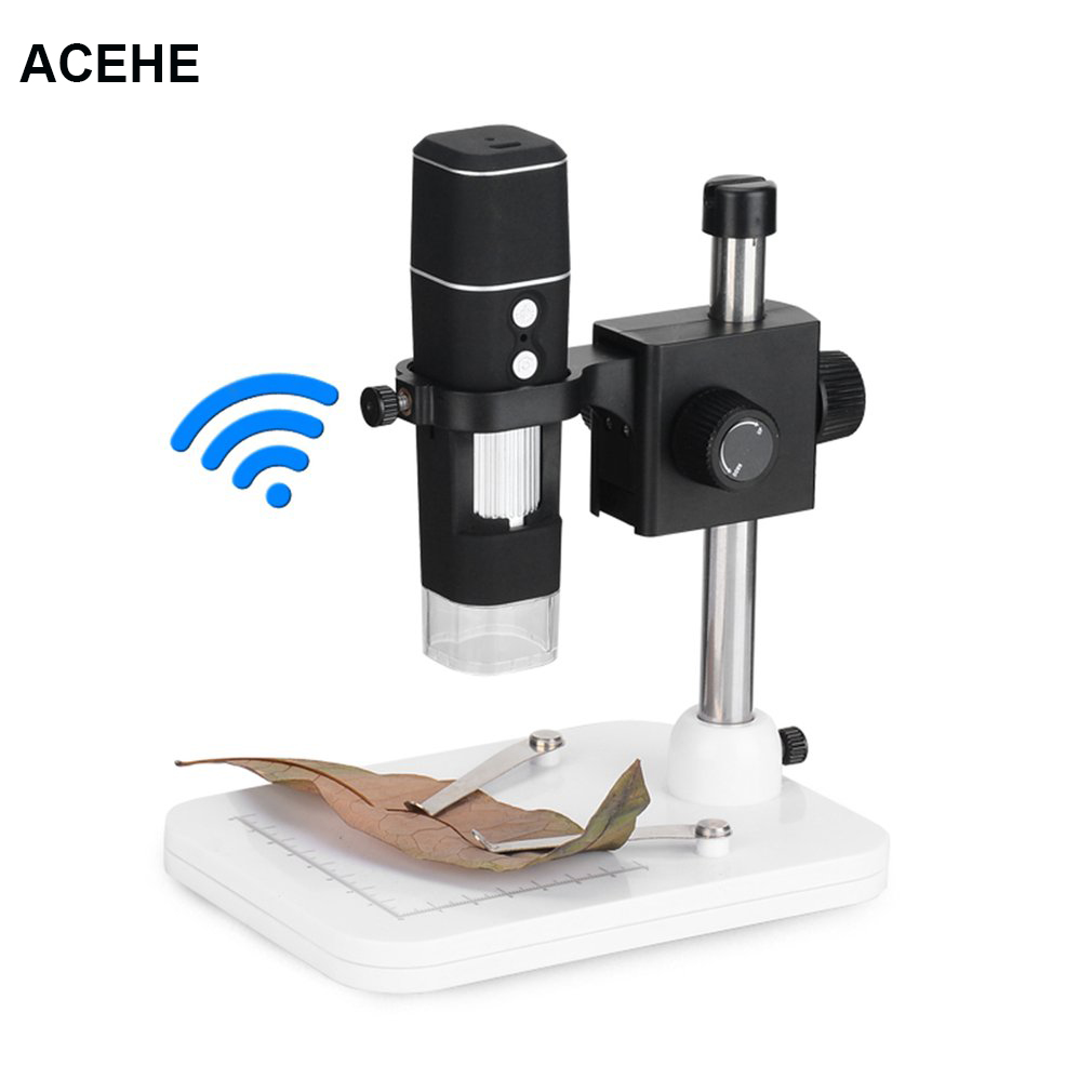 ACEHEH 500x Wi-Fi Digital Microscope US Plug Magnification With Adjustable Stand 8 LED Light Manual Focus Adjustment Drop ship wi fi digital microscope with adjustable microscope stand 8 led light manual focus adjustment 500x magnification no battery