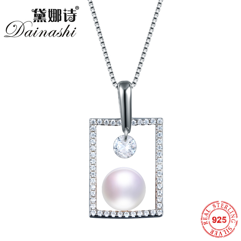 Dainashi 100% Solid Silver Chain Necklaces 925 Sterling Silver Pendant Necklace Perfect Round AAAA Quality Women JewelryDainashi 100% Solid Silver Chain Necklaces 925 Sterling Silver Pendant Necklace Perfect Round AAAA Quality Women Jewelry