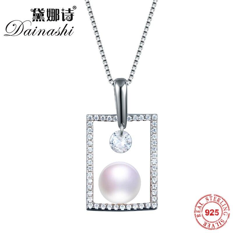 Dainashi 100% Solide Chaîne En Argent Colliers 925 En Argent Sterling Pendentif Collier Parfait Ronde AAAA Qualité Femmes Bijoux