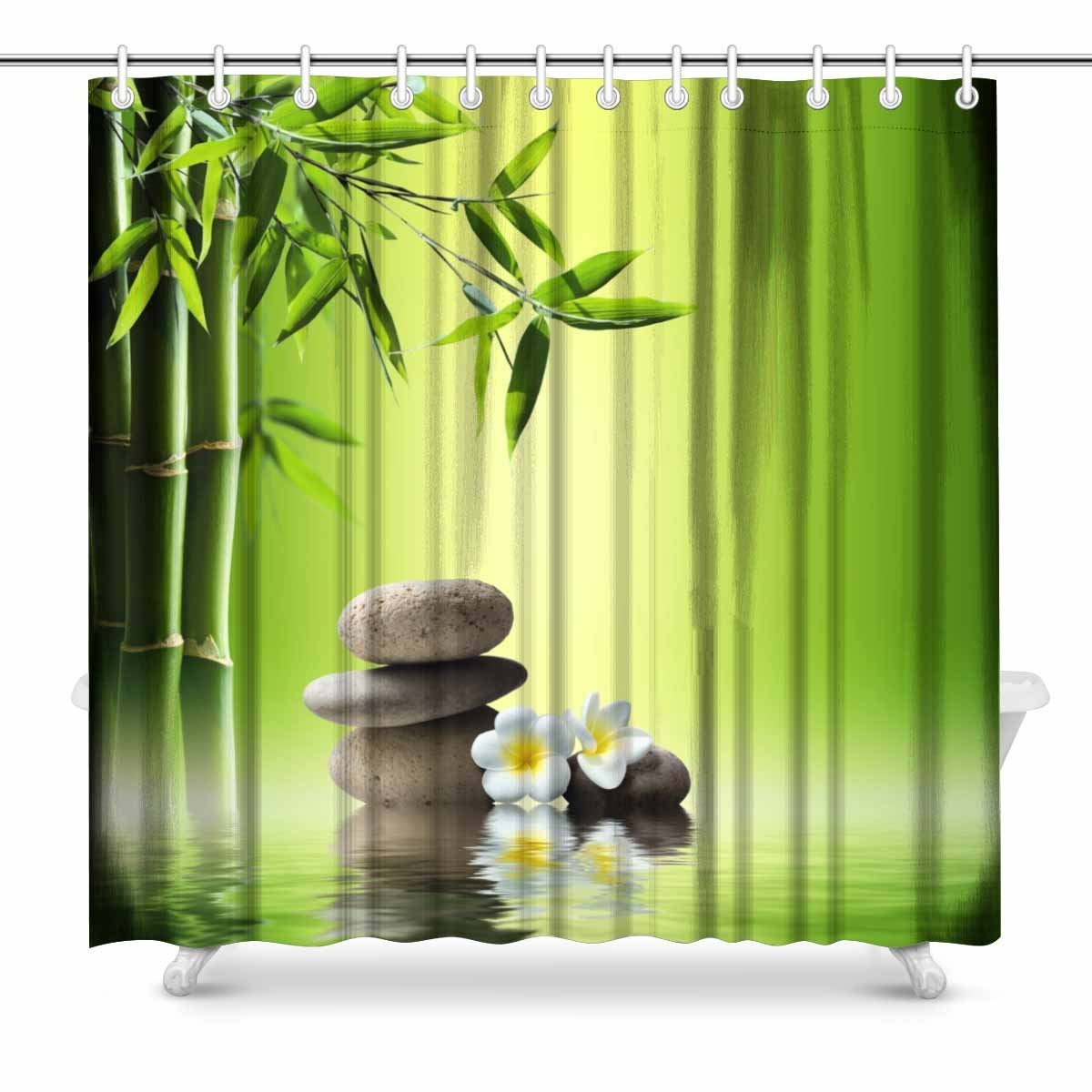 Shower Curtains 72x72 Polyester Waterproof Bamboo Spa Stone