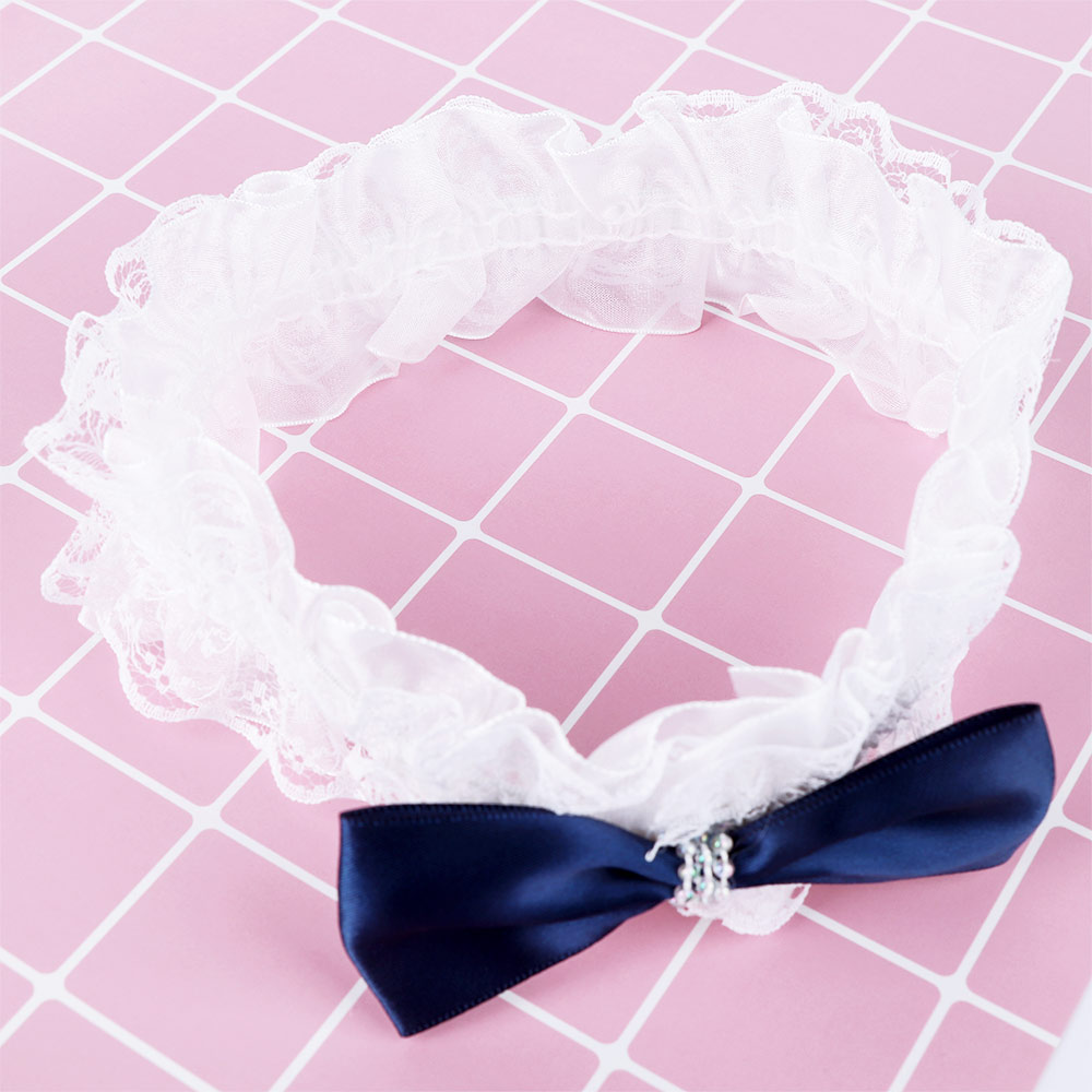 Baby Girl Elastic Hairband Blue Bow Tie Headband Infant Girl White Lace Hair Accessories Exquisite