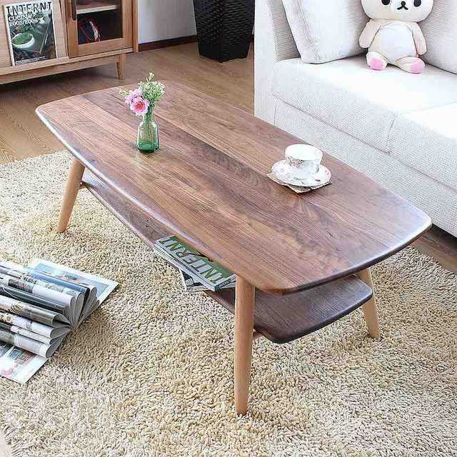 Solid Wood Walnut Coffee Table Black Living Room Furniture Side Table  Japanese Style Floor Sofa Center
