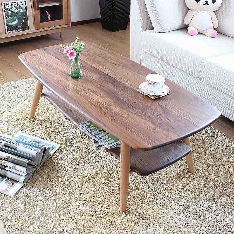 Solid Wood Walnut Coffee Table Black Living Room Furniture Side Japanese Style Floor Sofa Center Wooden