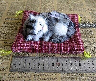 simulation cat model polyethylene& fur 12x9cm gray grains style cat with mat,sounds miaow cat handicraft,Decoration gift b3558