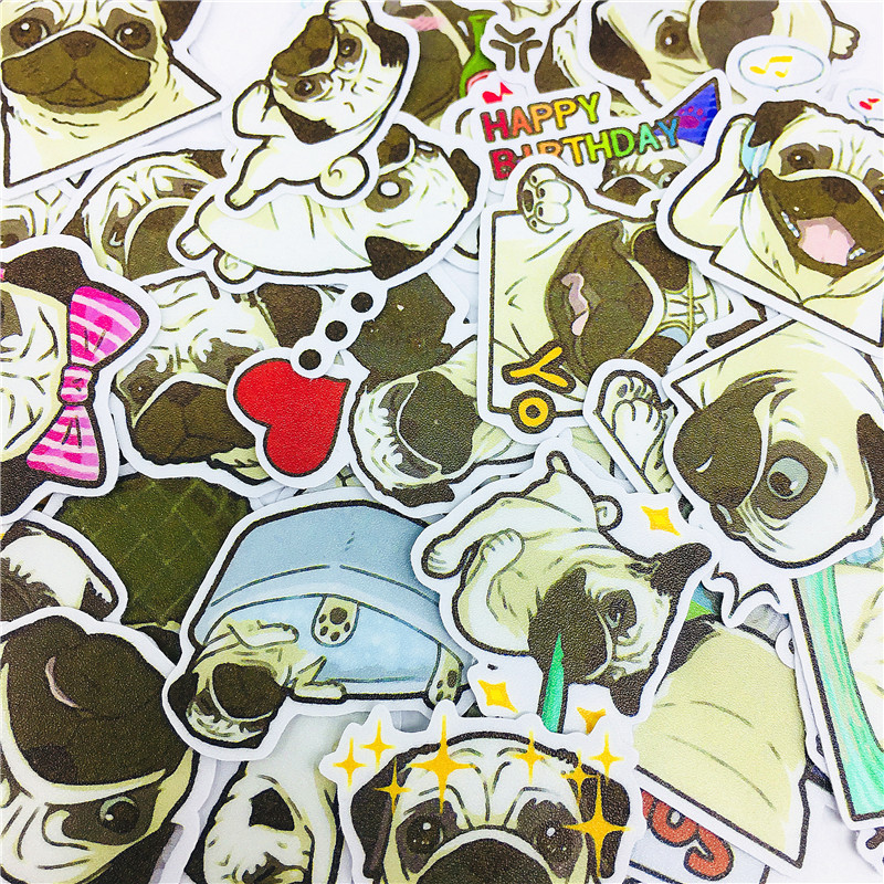38 PCS Expression Action Pug Stickers Crafts And Scrapbooking Stickers Book Student Label Decorative Sticker DIY Stationery
