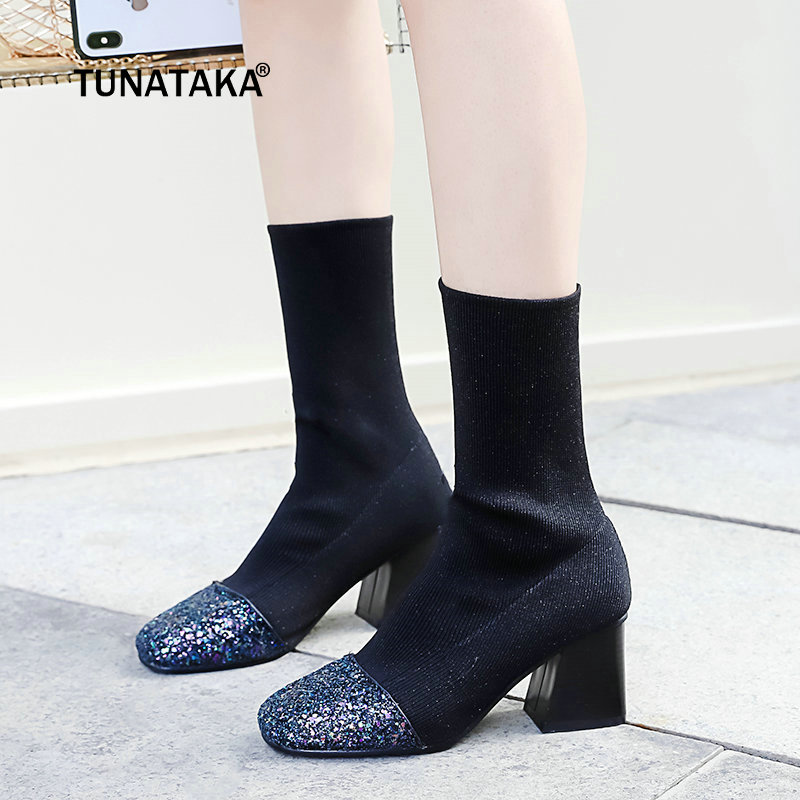 Fashion Stretch Knitting Socks Boots Women Thick Heel Ankel Boots Fall Winter Ladies Sho ...