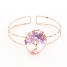 FYJS Unique Jewelry Rose Gold Color Wire Tree of Life Natural Amethysts Stone Bangle