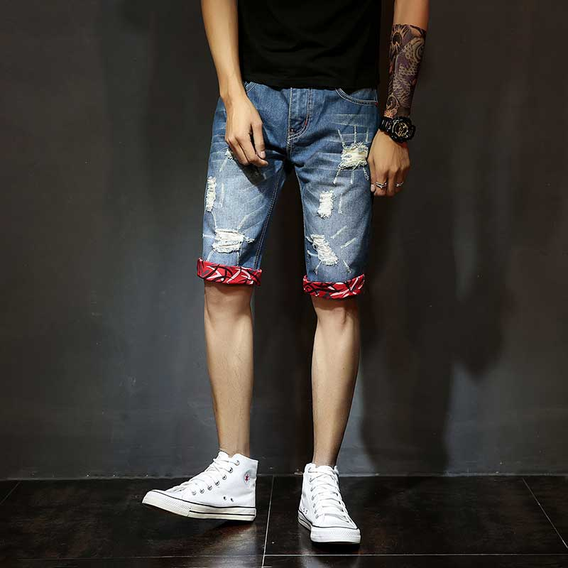 Denim Men s Short Jeans Cuff Fashion Casual Short Trousers with Holes