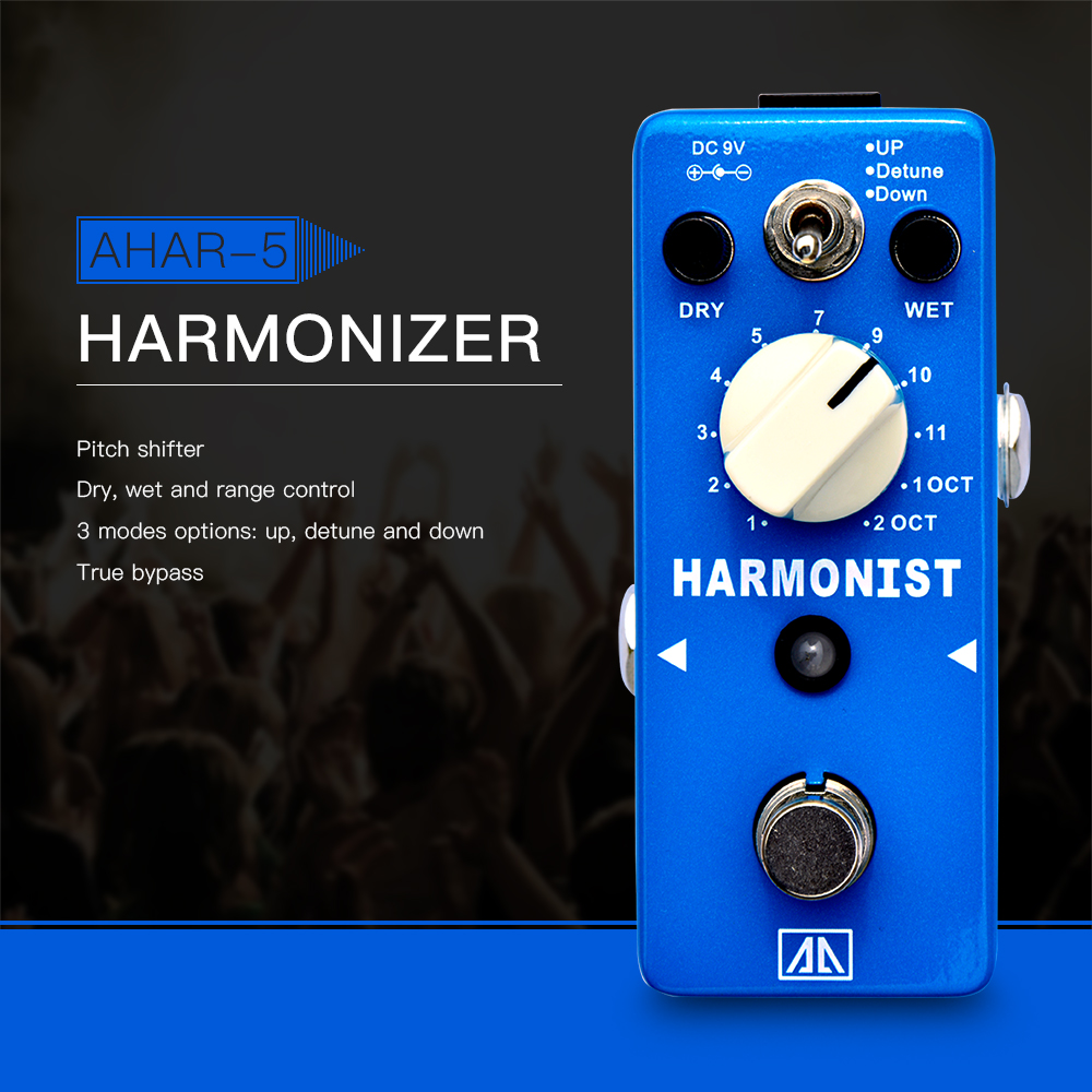 AROMA AHAR-5 HARMONIST Pitch Shifter Guitar Effect Pedal 3 Modes Pitch Shifting Harmony Effects Aluminum Alloy Body True Bypass