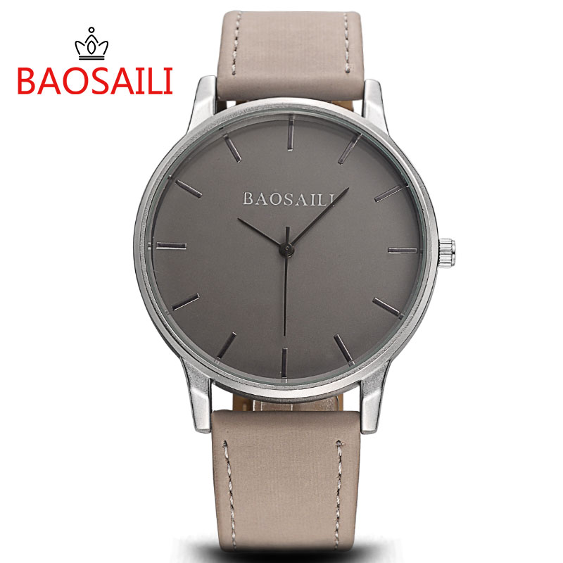 BAOSAILI Fashion Wrist Watch Men Watches Brand Luxury Famous Male Clock Women Unisex Simple Classic Quartz Leather Watch BS996 classic luxury formal unisex dress quartz men women wrist watch rose golden metallic strap decorational subdial gift box