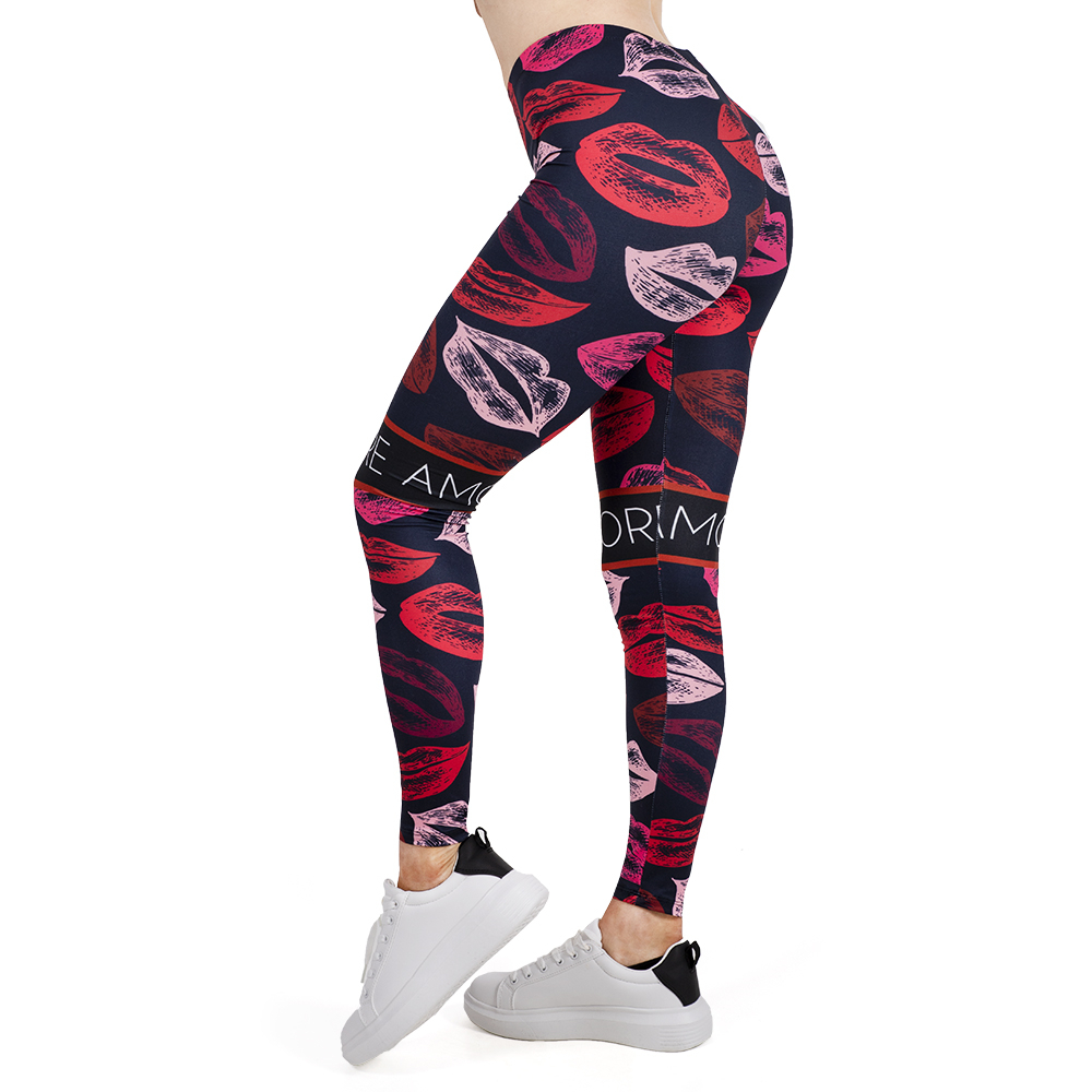 Women   Legging   LIPS Printing Leggins Slim High Elasticity Legins Popular Fitness   Leggings   Female Pants
