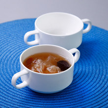 New high-quality white bone china salad dessert soup bowl ceramic stew cup with two ears handles