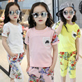 New Arrived Baby Girls Summer Suit 2017 Fashion Shirts+Pant Two-Piece Children's Casual Floral O-Neck Pullover Clothing Hot Sale