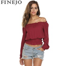 f349db4f187a2 Buy shirred off shoulder crop top and get free shipping on AliExpress.com