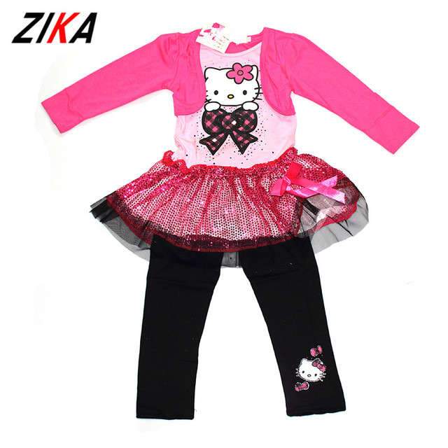 104a0620b ZIAK Spring Girl Hello Kitty Clothes Kids Hoodies Sports Pants Children  Clothing Set Girls Sequin Long Sleeve Tops Baby Clothes