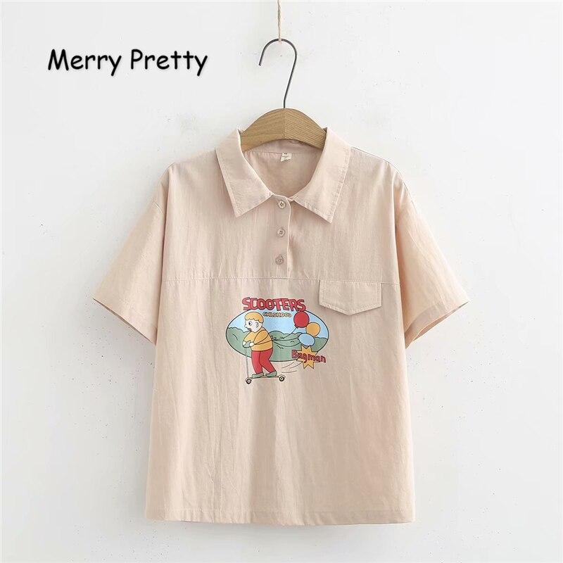 Merry Pretty Women Cartoon Print Short Sleeve Blouses And Tops 2019 Summer Turndown Collar Cotton Shirts Femme Casual