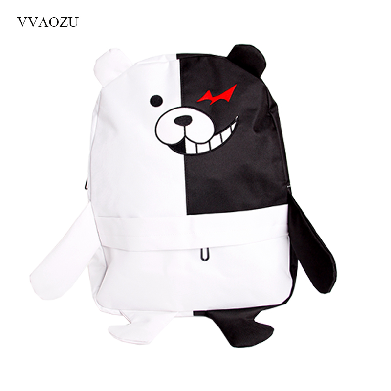 Japan Anime Dangan Ronpa Danganronpa Monokuma Backpack Cute Women School Shoulder Bag Kawaii 3D Bear Rucksack Daypack with Foot free shipping cute 4 nendoroid monokuma super dangan ronpa anime pvc acton figure model collection toy 313 mnfg057