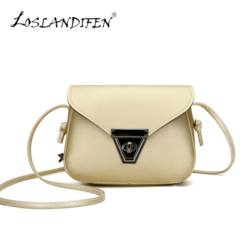 все цены на 2017 new women cute triangle metal lock silver small messenger crossbody bag woman student gold mini shoulder bags