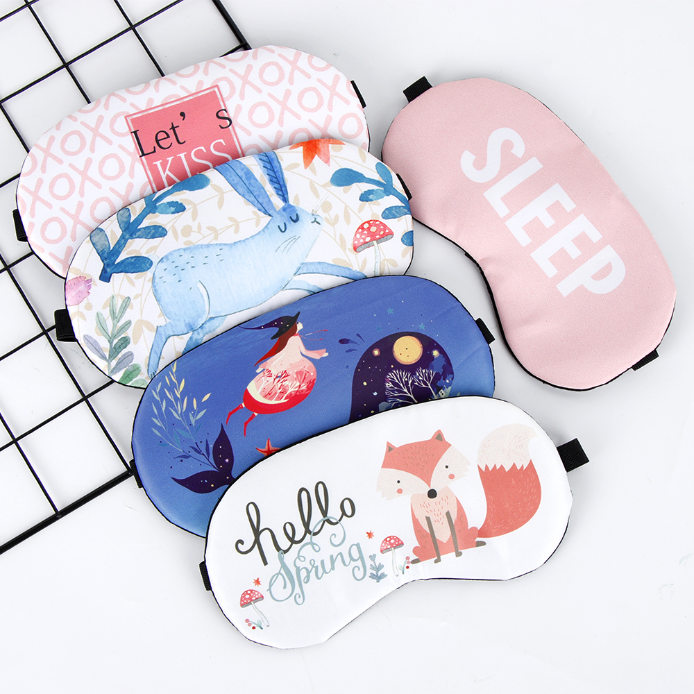 1PC Cute Sleeping Eye Mask Soft Padded Sleep Eyeshade Cartoon Animal Picture Eye Shade Cover Rest Relax Blindfold Eye Care
