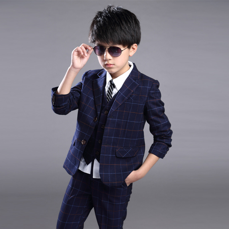 Kids Boys Suits Children Suits 3pcs Sets Full Sleeves Spring Clothing For Wedding Costume Kid Boy Clothes Regular Cloth 4cs281 spring kid boys girls print sweater with hat children casual clothing 2016 children s sets summer kids baby boy clothes 2987