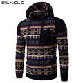Winter Jacket 2017 New Fashion Coat National Wind Mosaic Sleeves Digital Diamond Print Design Men Casual Hooded Sweatshirts