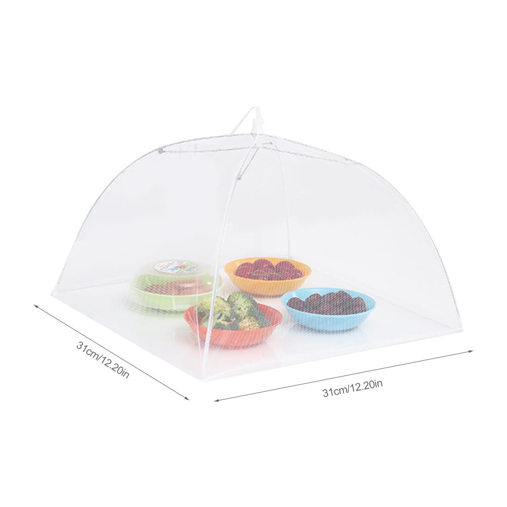 12 Inch Food Cover Mesh Folding Removable Washable Flies Table Cover White Square Dish Cover Umbrella Screen Tent Set for BBQ in Food Covers from Home Garden